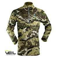 Hunters Element Womens Prime Summer Zip Top Long Sleeve Veil Camo